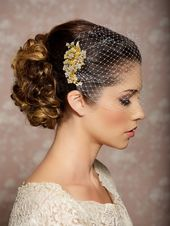 Bridal Veil and Gold Bridal Comb, Bandeau Birdcage Veil, Gold Blusher Bird Cage Veil – QUICK SHIPPER – Gold Rhinestone Fascinator Comb