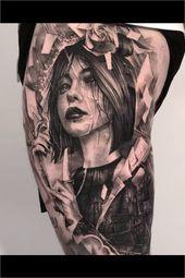 Realistische Frau Tattoo Portrait / Konan Tattoo / Naruto Tattoo von John Hudic gemacht