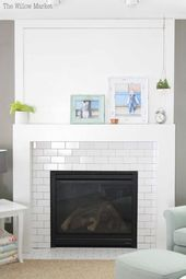 A New Fireplace with Shiplap and White Subway Tile…
