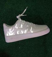 Reflective Flames Nike Air Pressure 1   Customized Air Pressure 1s One   3m Reflective Hearth Sneaker   Customized AF1   Reflective Sneakers