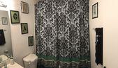 Zebra print curtain   – Script letters ;bathroom decor