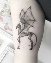 "B E T O on Instagram: ""🦌🐐🐉🦇 For Maya Check out @junejungart Studio #thestral #thestraltattoo #finelinetattoo #ink"