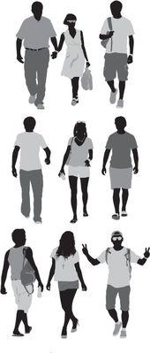 Lizenzfreie Vektoren: Zufällige Leute auf Straße