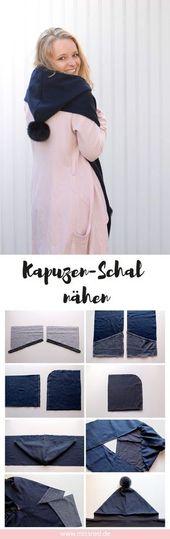 DIY idea: hooded scarf sew with pompom  – Nähen