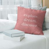 Quotes Handwritten Explore Dream Discover Quote Pillow (w/Rmv Insert)-Spun Poly (18 x 18 – Square – Zipper Closure – Large – Polyester – Removable