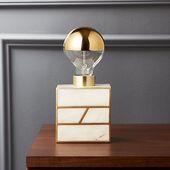 Escape White Marble Table Lamp + Reviews | CB2 #La…