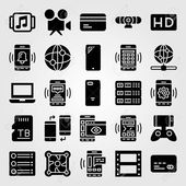 Technology vector icon set. hd, film roll, game controller and webcam , #AD, #set, #hd, #icon, #Technology,