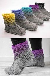 Strickanleitung für tolle Woll-Hausschuhe mit Ombre-Effekt / Knitting tutorial … – sybille fuchs
