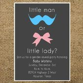 Dark Gray Blue and Pink Little Man or Little Lady Gender Reveal invitation Boy or girl- colors can be customized – Shower ideas