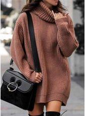3045 Effen kleur Lange mouw Casual Jurken VeryVoga # casual #Vaste kleur # Jurken #la …   – Lange Kleider