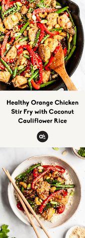 Healthy Orange Chicken Stir Fry with Coconut Cauliflower Rice