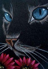"""""""Katze mit roten Blumen"""" von Cyra R. Abbrechen – #Abbrechen #Blumenquot #Cyra #mit #quotKatze"""