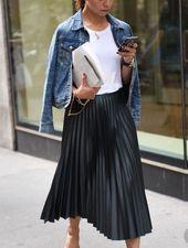 Pleated skirt and denim jacket