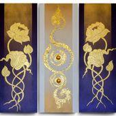 Thai handmade The Golden Lotus Paintings for Home Decor. Thai Handmade. 100% pure gold leaf.  ...