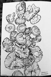 Illustrator Brushes E.O.Brown Sketchbook: line drawing of mushrooms done in Pentel Brush pen and Fab...