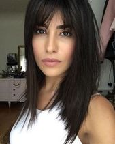 Elegant hairstyles for straight medium-long hair with bangs #bobfrisur #simplefree …