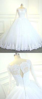 Luxus Spitze langärmeliges Brautkleid mit langen Ärmeln ...