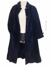 Mein Vintage 80s 90s Oversize Long Mantel Coat Rillen Cord Dunkelblau von true v…