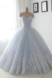 Light blue organza lace sweetheart A-line long dress,princess ball gown dress,155