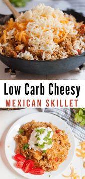 Poêle Cheesey Poulet Mexicain (faible teneur en glucides / céto)