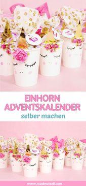 Einhorn DIY Adventskalender basteln – Anleitung zum Selbermachen
