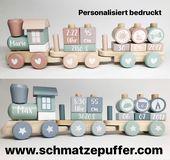 Holzeisenbahn mit Geburtsdatum, gedruckt von Schmatzepuffer®   – Little Dutch Holzspielzeug by Schmatzepuffer®