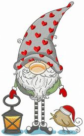 Gnome in phrygian cap with hearts holding lantern …
