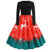 Women Long Sleeve Dress Vintage Pumpkins Halloween Christmas Evening Prom Costume Swing Dress