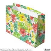 Tropical garden, hibiscus plumeria and palm leaves large gift bag | Zazzle.com   – Party Decoration Supplies Ideas