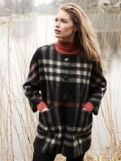 REPEAT Silver Edition – Women – Oversized check coat – 55% Wool / 31% Polyester / 14% Acrylic – Black / Lt. Grey – 42 – L