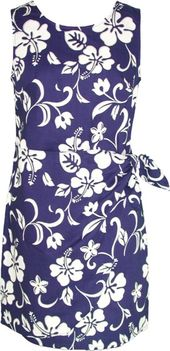 Hibiscus Paradise Tropical Hawaiian Print Sarong Dress Royal