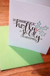 22 handgemachte Kalligraphie Weihnachtskarten kön…