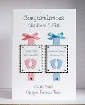 Baby Cards Schillernde handgefertigte Karten Karten mit den WowFactor Neue Baby-Zwillinge-G...