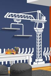 Construction Crane Vinyl Wall Decal – Boys Bedroom Wall Decal – Nursery Decor – Construction Wall Decor – Playroom Decal – Crane Wall Decal – cool beds