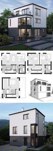 Einfamilienhaus Neubau modern mit Flachdach Archit…