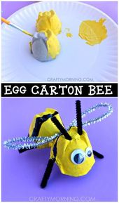 Egg carton Bumble Bee Craft for children to ……