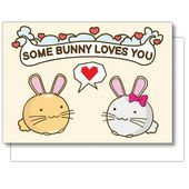 Some Bunny Loves You Valentines Greeting Card Rabbit Love cuteness hearts Funny Cute Kawaii Kitty Fuzzballs Gift Idea For Her Present