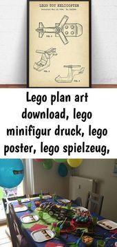 Lego Plan Art herunterladen, Lego Minifigur drucken, Lego Poster, Lego Spielzeug, Kinderzimmer Wandkunst, 3   – Lego