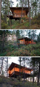18 Modernes Haus im Wald // Dieses Waldhaus wird direkt in den Wald gehoben.   – Home sweet home