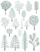 Illustration #von #Kiefern #Bäumen #Sammlung # | …