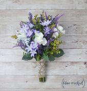 Wildblumen Bouquet – Lavendel Bouquet, lila Bouquet, Herbst Bouquet, Boho Bouquet, Bouquet rustikal, Seidenblumen, künstliche Lavendel, Faux   – Hochzeit 2018