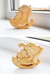 Kids gift Wood bear Wooden Puzzle bear Educational toys montessori toys Mother's day gift Animal puz
