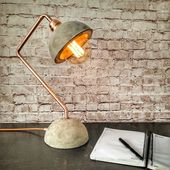 Industrial concrete copper desk lamp, Concrete lamp base shade, Desk light, Edison desk lamp, Industrial lighting, Industrial style lamp