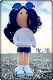 Seaside girl by PticaDolls on Etsy brunette girls Seaside portrait doll with bla…