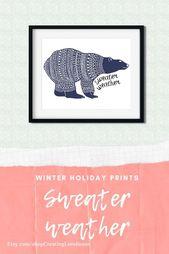 Sweater weather – polar bear art print