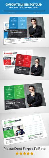 Corporate Business Postcard Template PSD #design Descargar: graphicriver.net / …   – Postcard Templates