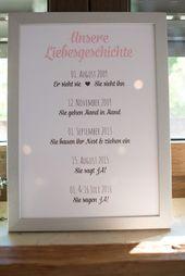 Die Liebesgeschichte von Braut und Bräutigam als Schild bei der Hochzeit. Foto:…