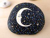 Mond gemalt auf Rock Starry Night Malerei-Briefbeschwerer Rock Fantasy gemalt Ro