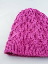 Woman cable knit hat, Pink slouchy hat, Cable winter hat  – Knitting My Etsy shop Sweaterorhat