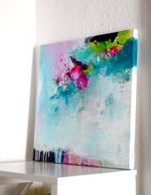 Original abstract painting, modern work of art, acrylic painting, canvas art painting, turquoise fuchsia pink artwork on stretched canvas
